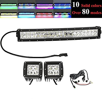 DiGo 300w 5250423222inch Curved led light bar with Chaser RGB Halo Led +2 PCS led work lights chaser halo Fog Lamp Driving Fog Lights Strobe & Fun Chasing Function Driving Lamp