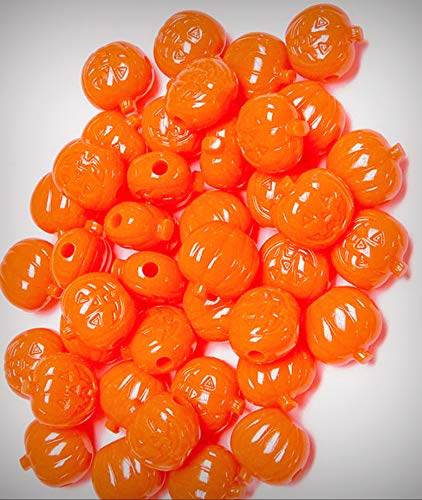 Lot of Jack-O-Lantern Pumpkin Shaped Pony Jewelry Making Beads Neon Orange 25pc Made in USA Halloween - DIY for Handmade Bracelet Necklace Craft Supplies