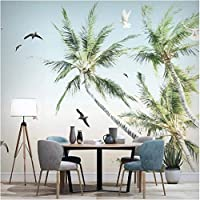 Iusasdz カスタム壁画壁紙3Dココナッツツリー海辺の風景壁画リビングルームテレビソファ寝室背景壁画3D-250X175Cm