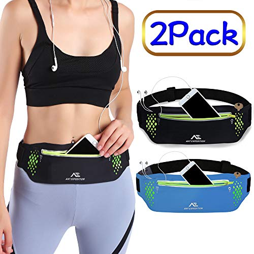 ANT EXPEDITION Running Belt Waist Pouch Phone Holder Workout Belt Sport Waist Pack Exercise Waist Bag for Jogging Hiking Travelling Cycling Fitness (01.Black+Blue(2 Pack))