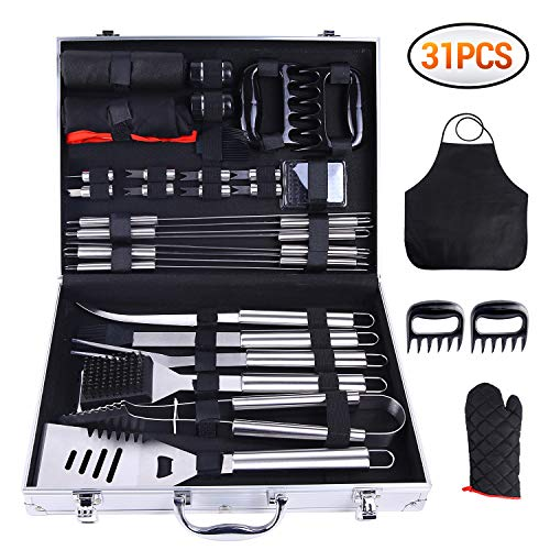 Ohuhu 31-PCS BBQ Tool Set, Grill Accessories Set Heavy Duty Stainless Steel, Barbecue Grill Utensils with Aluminium Case, Grilling Tools with Barbecue Claws Set for Men Birthday Christmas