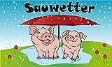 Fanshop Lünen Fahne - Flagge - Sauwetter - Schirm - Wetter - Schweine mit Regenschirm, (Mistwetter, Ferkel, Unwetter,) - 90x150 cm - Hissfahne mit Ösen -