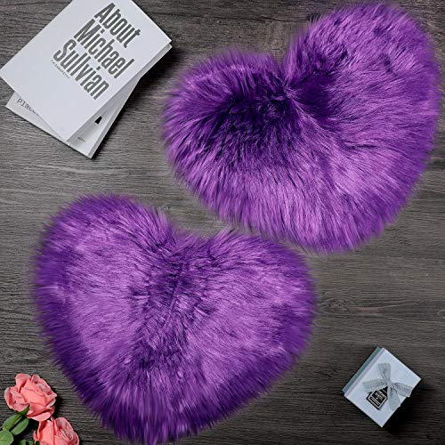 2 Pieces Fluffy Faux Sheepskin Area Rug Heart Shaped Rug Fluffy Room Carpet for Home Living Room Sofa Floor Bedroom, 12 x 16 Inch (Purple)