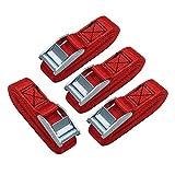 Amazon Basics 12-Feet Long Lashing Strap, Red, 4-Pack