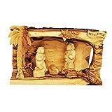 Belén y figuras hechas a mano de madera de olivo tallado en madera de olivo