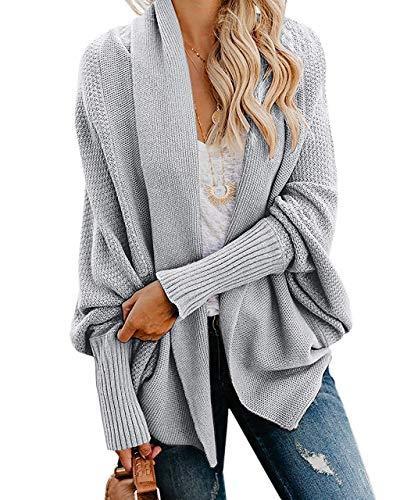 Ybenlow Womens Kimono Open Front Cardigan Sweaters Batwing Sleeve Shawl Collared Oversized Sweater Cloak Outwear (Small, Grey)