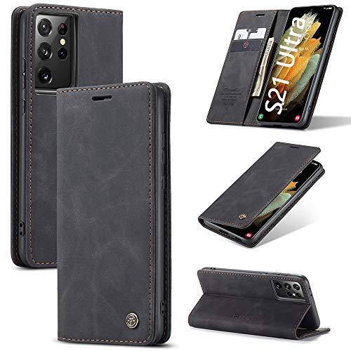 KONEE Hülle Kompatibel mit Samsung Galaxy S21 Ultra 5G, Lederhülle PU Leder Flip Tasche Klappbar Handyhülle mit [Kartenfächer] [Ständer Funktion], Cover Schutzhülle für Galaxy S21 Ultra 5G - Schwarz