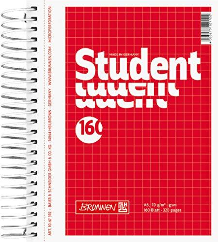 Brunnen 1067392 Notizblock / Collegeblock Student (A6, kariert, 70 g/m², 160 Blatt)