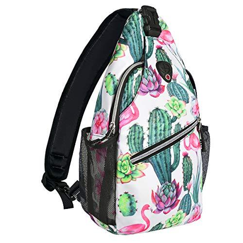 MOSISO Brusttasche Sling Rucksack Schultertasche, Polyester Crossbody Umhängetasche Sporttasche Kompatibel Herren Damen Mädchen Jungen Reise Daypack, Kaktus