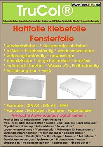 10 Blatt DIN A4 53µm klar/transparente glänzende glasklare Haftfolie Klebefolie Fensterfolie wiederablösbar -rückstandslos ablösbar- reißfest hitzebeständig wiederverwendbar witterungsbeständig abwaschbar desinfizierbar lange Haltbarkeit