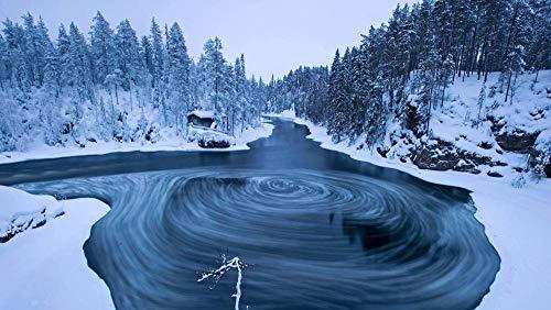 Puzzel 1000 Stukjes, Draaikolken In Het Myrlykoski Scenic Area In Oranka National Park In De Winter, Kuusamo, Finland, Unieke Cadeaus Voor Diy Educatief Speelgoed (75 X 50 Cm)