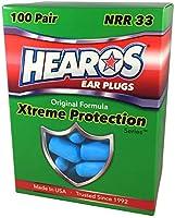 HEAROS Xtreme Foam Earplugs, 33dB NRR Ear Plugs, 100 Pairs, Foam Ear Plugs Noise Reduction & Hearing Protection