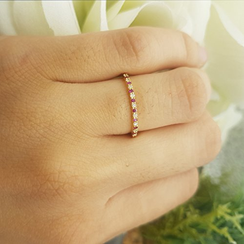 Dazzlingrock Collection 10K Round Ruby & White Diamond Ladies Anniversary Wedding Stackable Ring, Rose Gold, Size 4