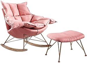 Rocking chair Poltrona a Dondolo Health UK ✤ Household Lazy, Cuscino Staccabile Invernale ed Estivo Doppio Uso Divano reclinabile, Legno, Rosa, B(Suit)