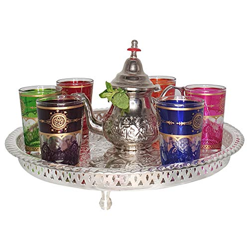 Fidele Marruecos - Juego de té marroquí (incluye bandeja y 6 vasos, acero inoxidable), diseño marroquí