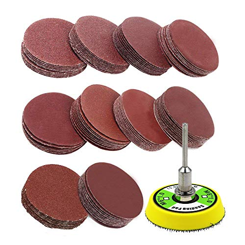 AxPower 100pcs 2 inch Sanding Discs Pad Kit for Drill Grinder Rotary Tools with Backer Plate 1/8' Shank Includes 60-2000 Grit Sandpapers
