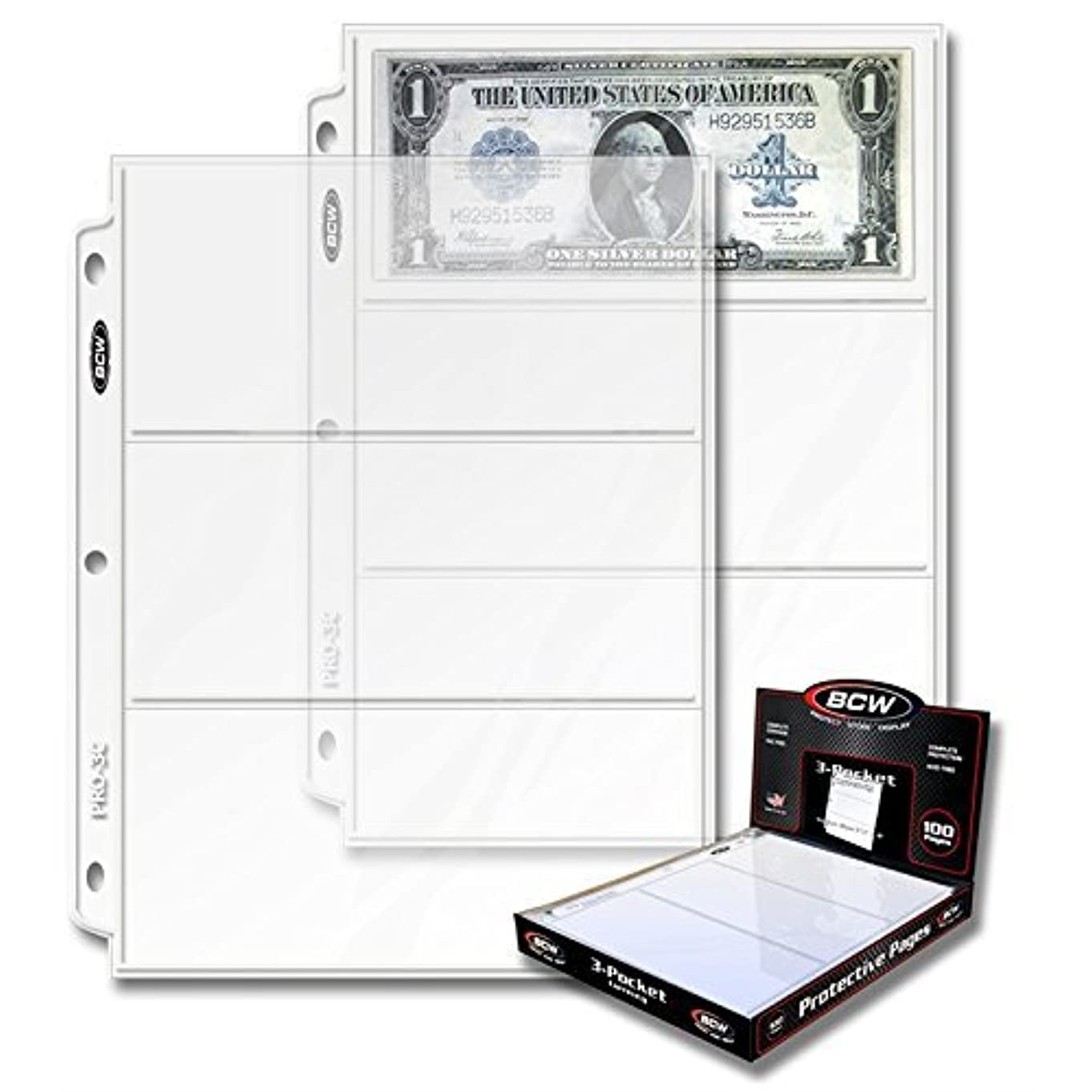 BCW PRO 3-POCKET CURRENCY PAGE (100 CT. BOX) (Original Version)