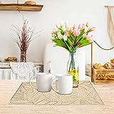 4er Set PVC Platzset, Abwaschbar Tischsets, rutschfeste Platzsets, Gold Tischsets, Platzdeckchen Gold für Weihnachten Party Küche Zuhause Speisetisch - 6