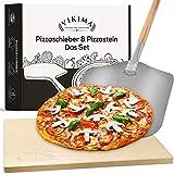 Vikima Set pietra per pizza e pala per pizza | Pietra per pizza per forno e barbecue a gas | pala per pizza XL in acciaio inox | Pietra per pane, pizza e pizza | Pizza Stone anche per forno in pietra