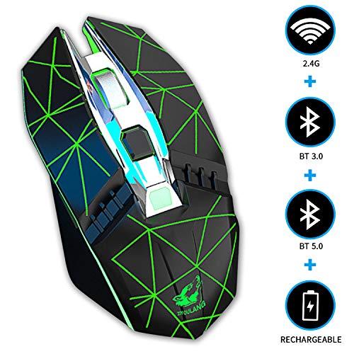 KILISON Kabellose Maus Gaming Bluetooth, DREI Modi Maus Wiederaufladbar (BT5.0+BT3.0+2.4G Wireless) Multi-Device Silent Funkmaus für Mac OS/MacBook/Windows/Android/Tablet/PC, Leuchtendes Schwarz