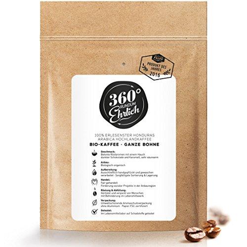 Premium Bio Kaffeebohnen preisgekrönt | Köstlich, sehr säurearm und sehr besonders von 360° rundum ehrlich | Ganze Bohnen | - ideal für Bulletproof Coffee I