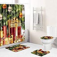 お祝いの新年浴室用バスマットトイレふたカバーマットラグ付き(バスカーテン)180 * 180センチメートル、防水ノンスリップクリスマスのシャワーカーテンセット green3-180~45*75cm