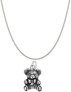 sterling silver teddy bear necklace