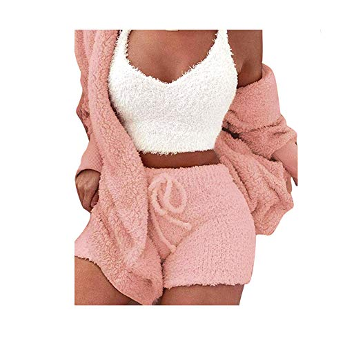 Fluffy Hooded Lange Mouwen Jas Open Front Teddy Shorts Vest Set voor Vrouwen Winter XL ORANJE
