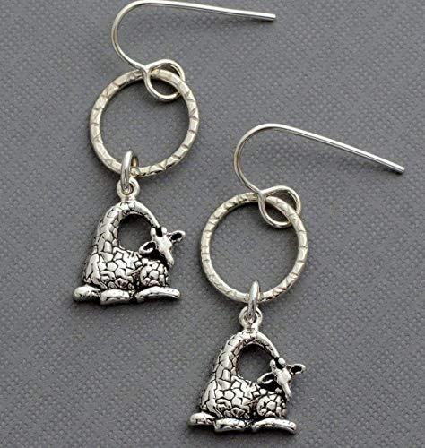 Sterling silver hoop giraffe dangle earrings animal jewelry hypoallergenic nickel free
