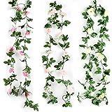N\A 3 Stück Künstliche Rosenranken, 2,2m künstliche Blume, hängende Rosengirlanden, für Zuhause, Hochzeit, Party, Garten, Dekoration, rosarot/weiß/pink