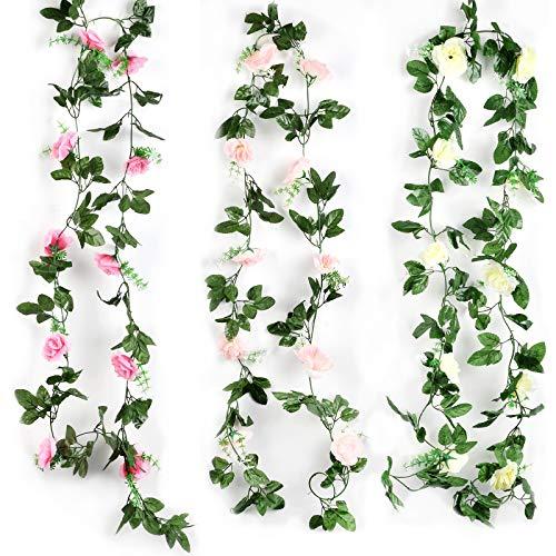 3 Stück künstliche Rosenranken, 2,2m lange Blumerebe, simulierte Rosenebe, rosarot/weiß/pink, hängende Rosengirlanden für Zuhause, Hochzeit, Party, Garten, Dekoration