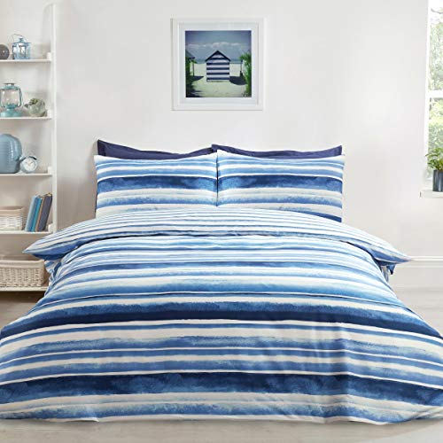 Sleepdown Watercolour Stripe Blue Ultra Soft Easy Care Hypoallergenic Printed Reversible Duvet Cover Quilt Bedding Set with Pillowcases - Double (200cm x 200cm)