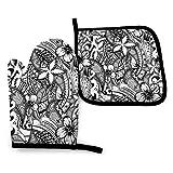 uytrgh - Juego de manoplas y soportes para ollas, diseño de tatuaje de polinesia hawaiana, lavable, resistente al calor, agarre antideslizante, guantes para horno
