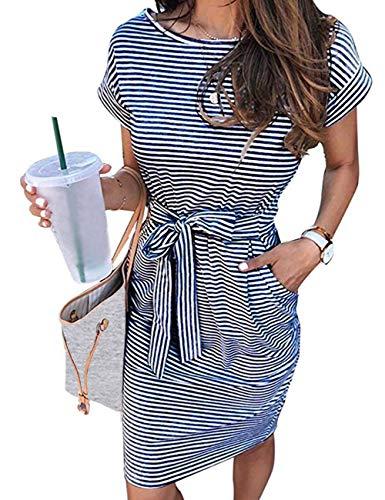 MEROKEETY Women's Summer Striped Short Sleeve T Shirt Dress Casual Tie Waist Midi Dress, Navy, M