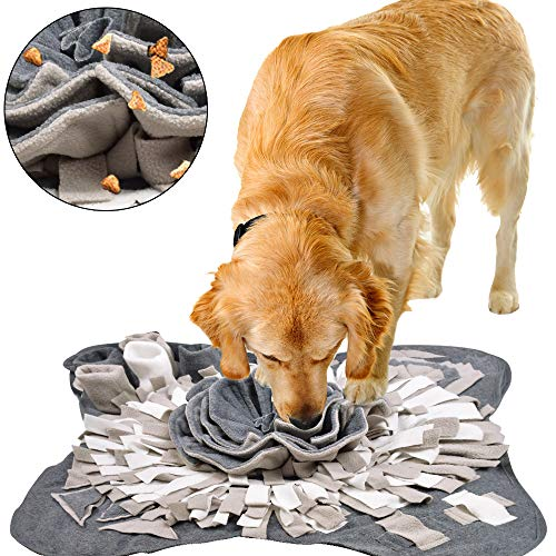IEUUMLER Schnüffelteppich für Hunde Riechen Trainieren Intelligenzspielzeug Futtermatte Trainingsmatte für Haustier Hunde Katzen IE081 (70x70cm, Grey & White)