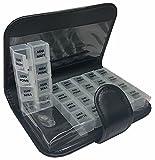 T-Pill - Libro - Portapillole Settimanale 28 Scomparti (Nero)