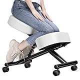 Ergonomic Kneeling Chair Adjustable Stool with Thick Foam Cushions and Smooth Gliding Casters for Home, White