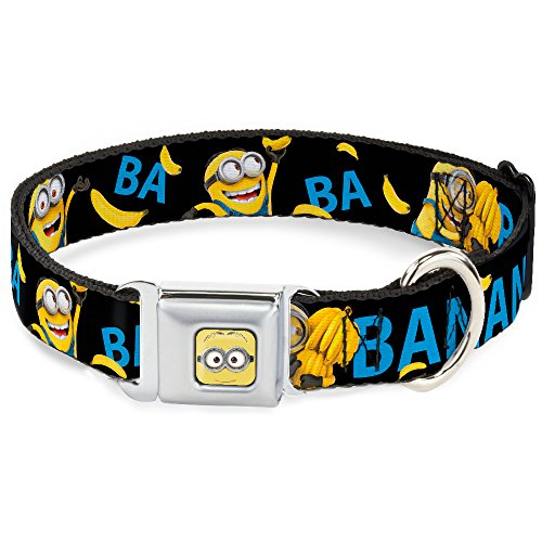 Dog Collar Seatbelt Buckle Minions Ba Ba Banana Black Blue Yellow 16 to 23 Inches 1.5 Inch Wide