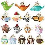 MOOKLIN ROAM 48 Pezzi Decorazioni Unicorno per Cupcakes, Dinosauro Topper e Wrapper Pirott...
