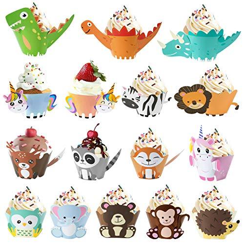 MOOKLIN ROAM 48 Stück Dinosaurier Cupcake Toppers Wrappers Kuchendeko Einhorn Cupcake Wrappers Kuchen Dekoration Für Dschungel Safari Party für Kinder Geburtstag Party, Hochzeit Kuchen Deko