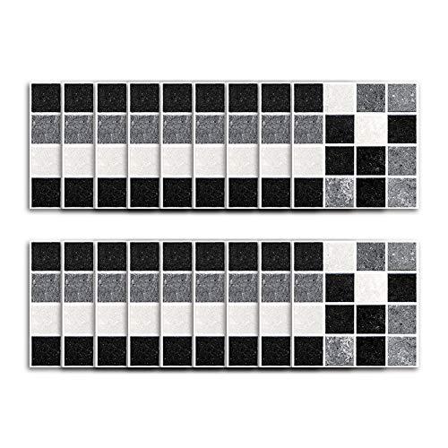 Lanceasy 18 Stks/set zelfklevende waterdichte stickers marmer mozaïek muur kunst keuken tegel