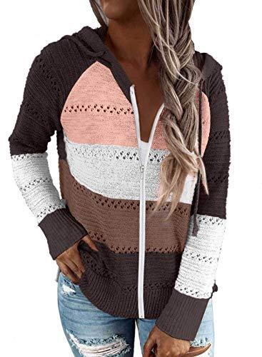 Fiyote - Sudadera con capucha para mujer, manga larga, con capucha, de color V-Neck Hooded Sudadera, para otoño, peso ligero, Tops de punto C marrón. XXL
