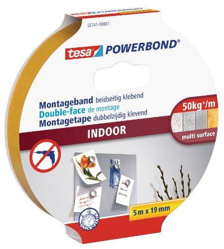 tesa 55741-01-00 Powerbond Montageband Indoor, Unbekannt, 5m:19mm