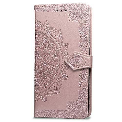 3C Collection Fundas Nokia 3.1 Tapa de Falsa Piel Mandala Oro Rosa, Fundas Nokia 3.1 Libro Iman con Tarjetero, Grabado Flores de Funda para Nokia 3.1 Antigolpes Mujer