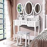 Iglobalbuy Tocador de Maquillaje,Tocador de Dormitorio Tocador con Taburete 3 Espejo Giratorio 7 cajones Taburete con,Blanco(BDT1217)