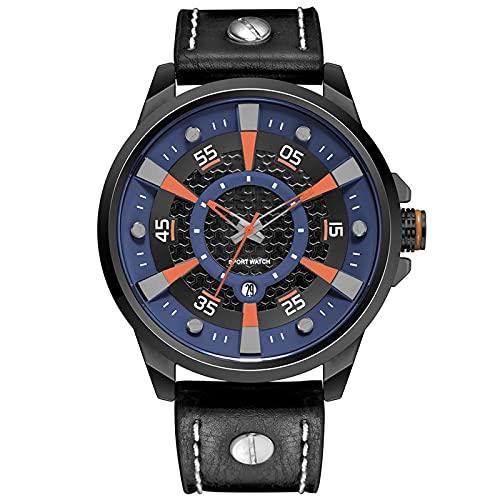 WNGJ Nuevo Reloj, Relojes DE Hombres DE Negocios, Personalidad Impermeable de Cuero Números Grandes Calendario Simple Relojes para Hombres, Relojes de Cuarzo, Relojes par Blue