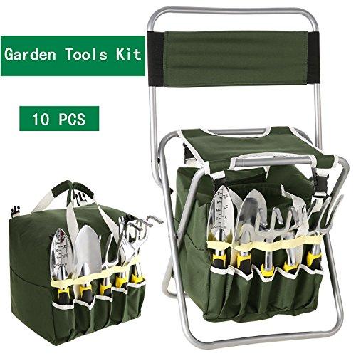 10 Piece Garden Tool Kit, Gardening Tool Set with Zippered Detachable Storage Tote Bag, Folding Stool Seat with Backrest and 5 Gardening Tools (Army Green (10 pieces))