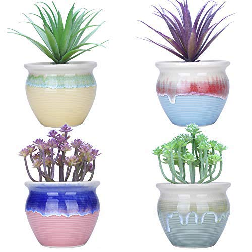 4.5 inch Succulent Planter Pots Small Cactus Plant Pot with Drainage Hole Ceramic Flower Containers Mini Garden Bonsai Pots for Indoor Plants, Set of 4
