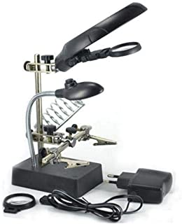 Helping Hand Magnifier With Soldering Iron Stand Led Crocodile Clips Ac/dc Power