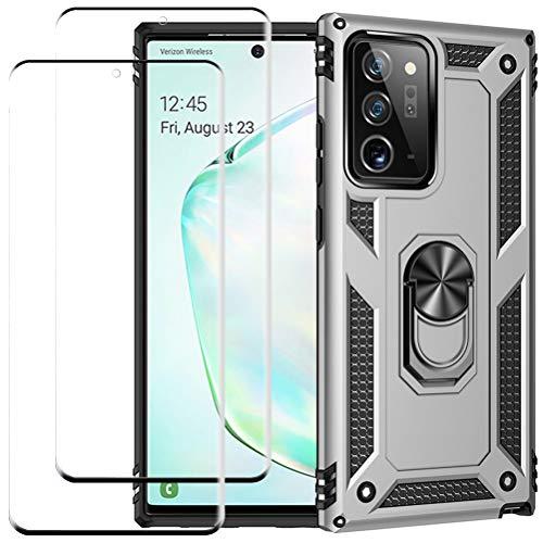 kinnter Kompatible mit Samsung Galaxy Note20 Ultra 5G Hülle Rüstung Silikon Stoßfest Handyhülle Ständer Schutzhülle mit 2 Stück für Note 20 Ultra 5G Panzerglas Screen Protector